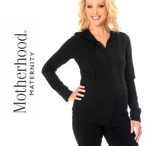 Motherhood Maternity Hoodie Black Ruched Jacket S